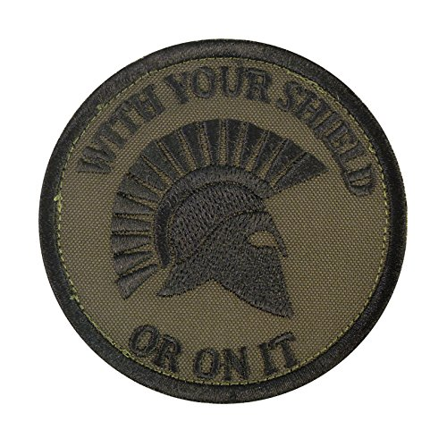 Olive Drab Green WITH YOUR SHIELD OR ON IT Spartan Helmet Morale Embroidered Fastener Aufnäher Patch (Navy Us Olive Drab)