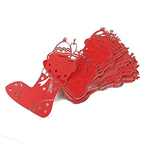 Lot de 50pcs Carte de Verre Marque Place Forme de Chaussette de Noël Décoration de Table (Rouge)