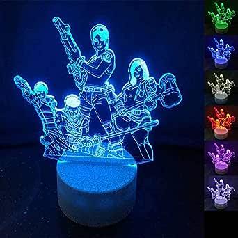 Lampe Illusion 3D Led Veilleuse,Alimenté par USB 7 Couleurs Clignotant Touch Switch Décoration de Chambre Éclairage pour Enfants Cadeau De Noël,