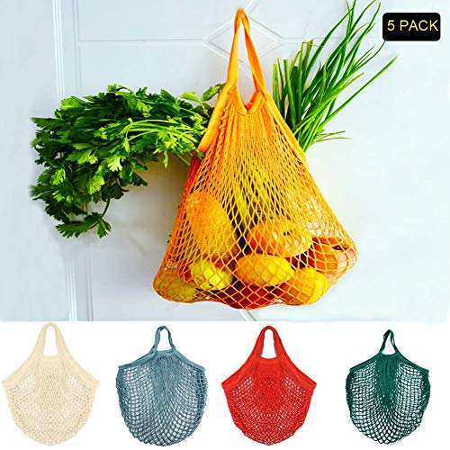 KESOVI Reutilizables Ecológicas Bolsa de Malla, 5 PCS Bolsas de La Compra Reutilizables para Almacenamiento Fruta Verduras Juguetes Lavable(5 Colores Algodón Bolsa)
