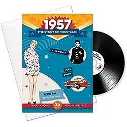 1957 cumpleaños o aniversario regalos - 1957 4-en-1 tarjeta y regalo - Historia de su Año, CD, Music Download - 15 Gráfico originales Canciones - Presente Retro Par…