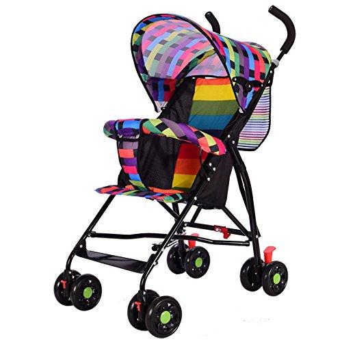 Cochecito ultraligero plegable, portátil, para bebé, verano, parasol, cochecito de bebé, carrito de cuatro ruedas Rainbow-B