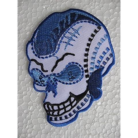 Teschio blu Punk tatuaggio in gomma Immagine del ferro da stiro Patch (Tatuaggio Di Gomma)