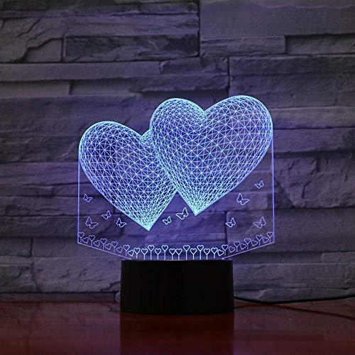 3D Night Light Stereo Liebe Grün Licht bunte Touch kreative Schlafzimmer Energie sparen Nachtlicht - Smart-energie-handbuch