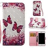 Apple iPhone 6/6S(4.7 Zoll) Étui en Cuir, Ecoway Étui en Cuir PU Peint Embossage La Fente en de Support Pliable pour Apple iPhone 6/6S(4.7 Zoll)(Papillon Rouge)
