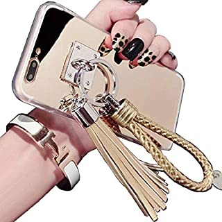 TAITOU Mi A1/5X Mirror Case, Beautiful Hand Sling Anti-Slip Strap Tassel Luxury Shiny Make-Up Mirror Thin Cover, Awesome Ultralight Slim Phone Case for MiA1/5X Gold