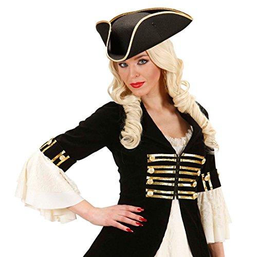 NET TOYS Piratenhut Dreispitz Kapitän Hut schwarz Offizier Kopfbedeckung General Filzhut Captain Jack Sparrow Mütze Seefahrer Kostüm Zubehör - Jack Sparrow Piratenhut