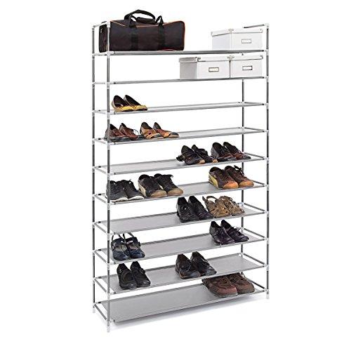 Relaxdays Schuhregal XXL H x B x T: ca. 175,5 x 100 x 29 cm Schuhablage für 50 Paar Schuhe Schuhschrank mit 10 Ebenen aus Stoff und Metall erweiterbarer Schuhständer für großen Stauraum, grau