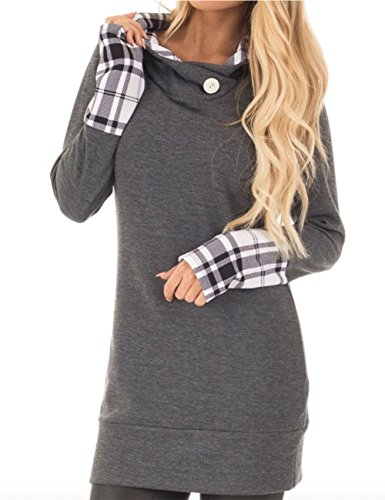 Helury Lang Sweatshirt Hoodie Pullover Shirt Damen Oberteile Patchwork Langarm Kapuzen Tops Einfarbig Bluse (Grau, XL) (Befestigt Bluse)