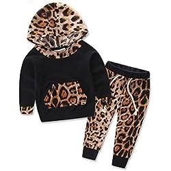 Ropa De La Muchacha Niños,RETUROM BebÉS Y Niños Fresco Conjunto De Manga Larga Con Estampado De Leopardo Pantalones De ChÁNdal + Trajes Set (70)