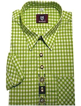 Trachten Hemd apfel grün weiß kariert mit Stickerei Krempelarm Orbis 0101 bequemer Schnitt M bis 5XL