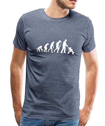 Spreadshirt Évolution du Singe Au Papa Poussette T-Shirt Premium Homme, S, Bleu Chiné