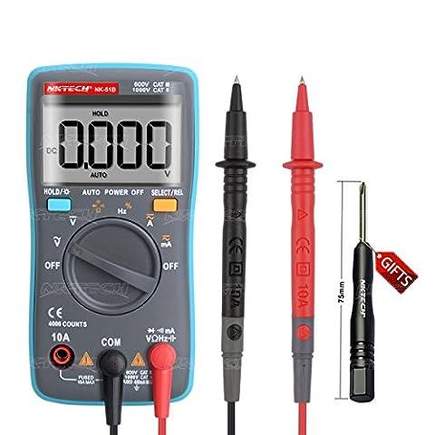 Nktech Nk-51b rétroéclairage Auto Gamme Digital multimètre AC Tension courant RMS DCA DCV résistance Capacitance fréquence Duty diode Test de continuité 4000-counts Palm Mètre testeur de kit