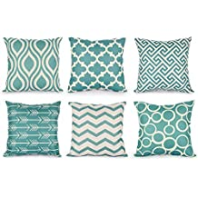 Rovinci 6 unid/Set Almohadas Decorativas caseras de la Manera geométrica Mezcla de algodón sofá
