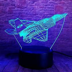 Tywwan 3D Lampe Illusion Optique Led Veilleuse,Optiques Illusions Lampe De Nuit 7 Couleurs Tactile Lampe De Chevet Chambre Table Art Déco Enfant Lumière De Nuit,Avion De Chasse