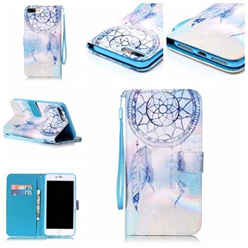 Coloré Motif PU Cuir portefeuille Housse Etui pour iPhone 7 Plus (5,5 pouces) Case Coque Protection Flip Cover avec carte de crédit Slots (Y05#) Y18#