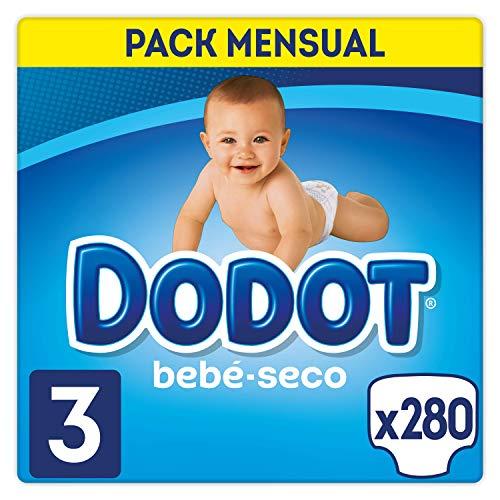 Dodot Bebé-Seco pañales, talla 3, paquete de 280, con canales de aire, 6-10 Kg