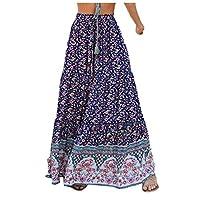 DUe Women Casual Summer Elastic Waist Boho Swing Midi Skirt Blue XL