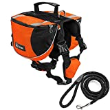 Hunde Rucksäcke Satteltasche Wandern Einstellbar Sattel mit Einer Freien Leine S M L (M: zum 17-27 KG Haustier, Orange)