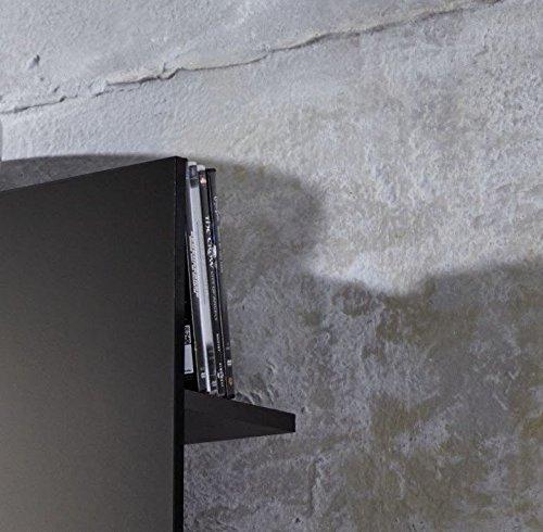 Dreams4Home Wohnkombination 'Florenz II', Wohnwand, Anbauwand, Schrankwand, Kombination, Wohnzimmerschrank, Wohnzimmer, (B/H/T) ca. 164 x 124 x 46 cm, in schwarz / schwarz Hochglanz, Beleuchtung:ohne Beleuchtung - 5