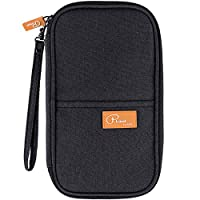 Family Passport Holder Travel Wallet Waterproof Holiday Document Organizer Pouch for Men Women Credit Cards, Boarding Passes, Tickets, Cash, ID, Papers by ManKn (Black)