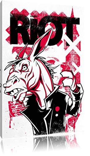 Riot white Bild auf Leinwand, XXL riesige Bilder fertig gerahmt mit Keilrahmen, Kunstdruck auf Wandbild mit Rahmen, gänstiger als Gemälde oder Ölbild, kein Poster oder Plakat (Rote Mäntel Und Rebellen)