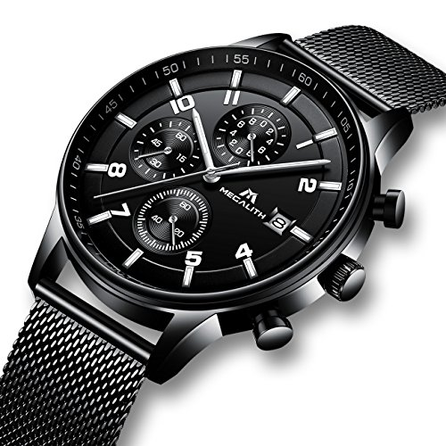 Herren Uhren Manner Militär Wasserdicht Sport Chronographen Schwarz Edelstahl Mesh Armbanduhr Mann Luxus Mode Leuchtende Analoge Datum Uhr