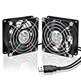 ELUTENG 80mm Ventilador Mini 2 Pack silencioso USB FAN para PC, PlayStation, Xbox Mini USB Cooler Double