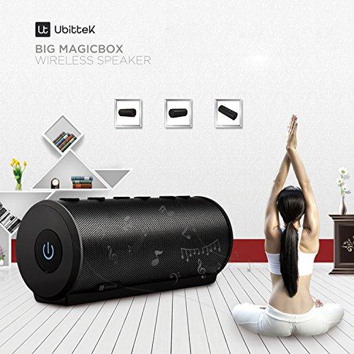 Bocina Portátil Bluetooth V4.0 con 360 Grados de Sonido Envolvente, Salida De 20 W De Ubittek: Bocina Estéreo Inalámbrico Premium con Doble Controlador Acústico de 10 W para Interiores Y Exteriores Uso - Aumento Ligero, Portátil, Ultra Mejora de Bajos, Ll
