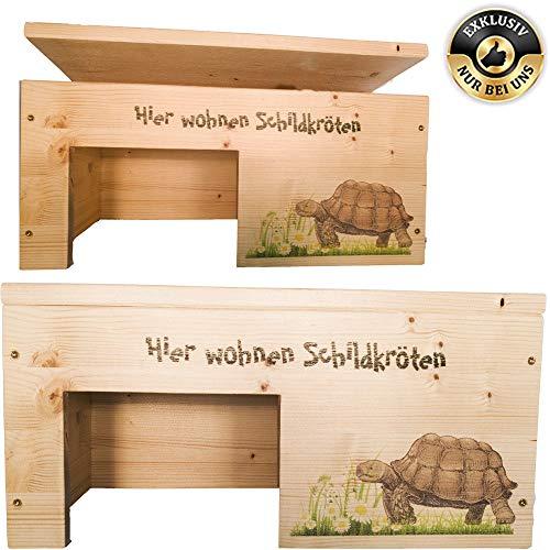 Nagerstore Schildkrötenhaus M Terrarium Schutzhaus mit Motiven, Holzlasur & Aufklappbar