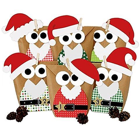 DIY Adventskalender Set zum Basteln - Weihnachtseulen Rot mit Mützen - vorgestanzt - Eulen Weihnachten 2017 - zum Befüllen - zum selber Füllen - von Papierdrachen