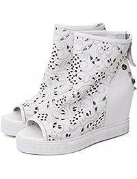 Verano zapatos nueva primera capa de peces de cuero boca cuesta con sandalias casuales , white , 7.5