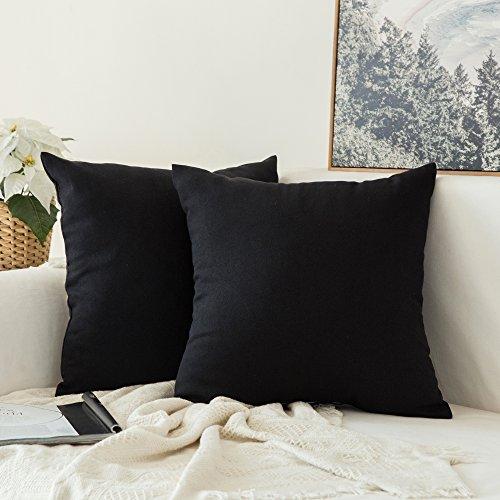 Miulee 2er Pack Home Dekorative Kissenbezug Kopfkissenbezug Leinen Kiessehülle für Sofa Schlafzimmer Auto mit Reißverschlüsse 45x45 cm Kissenbezüge Schwarz (Sofa-stuhl Für Schlafzimmer)