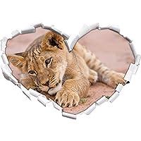Cucciolo di leone giocando a forma di cuore in formato sguardo, parete o adesivo porta 3D: 92x64.5cm, autoadesivi della parete, decalcomanie della parete, Wanddekoratio