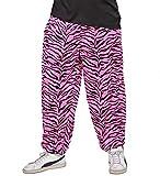 80er Jahre Assi Hose Pink mit Zebramuster Pumper Proll Asi Baggy Pants 80's , Größe:M/L
