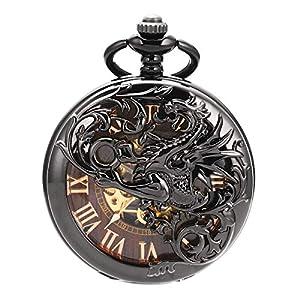 Esunlink Taschenuhren UnisexAnalog Dream Dragon Case Mechanischer Handaufzug Voll Hunter Burlywood Dial mit Zwei Uhrenketten