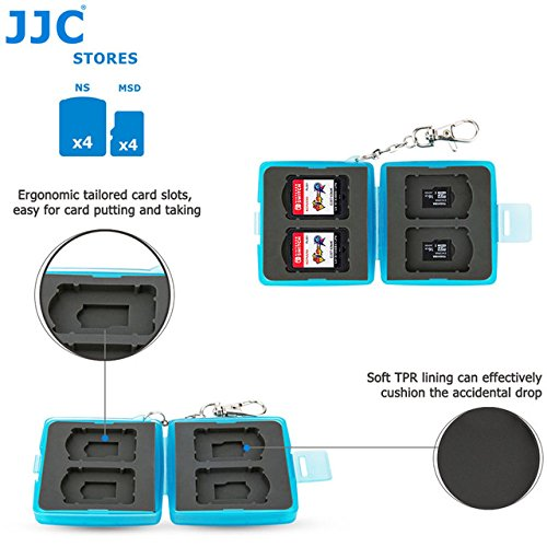 MC12B Blue: JJC Water-Resistant Memory Card Case Storage for Joy-Con Switch Controller Nintendo Switch Game Card Micro SD Card Box