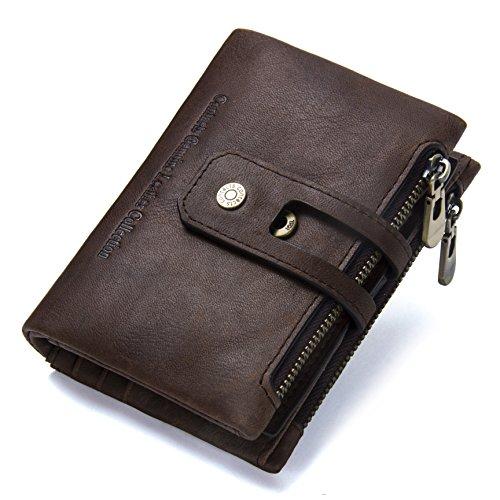 Portafoglio uomo Bifold Portafogli RFID con cerniera Portafoglio con zip in pelle di cavallo pazzo 10 slot di Cosihomu