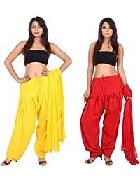 TEEJ New Ladies Punjabi Cotton Patiala Salwar With Dupatta Combo Of 02 Set - B073GRYXLL