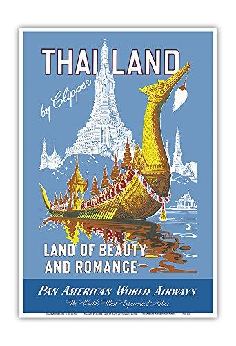 Pacifica Island Art Thailand mit Clipper - Land der Anmut und Romatik - Pan Am - Vintage Retro Fluggesellschaft Reise Plakat Poster c.1950s - Kunstdruck - 33cm x 48cm -