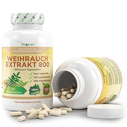 Weihrauch Extrakt 800 - 360 Kapseln - 800 mg pro Tagesportion - mind. 65% Boswellia-Säure - 100% Boswellia Serrata ohne Zusatzstoffe & Füllstoffe - Vegan - Premium Qualität - Vit4ever