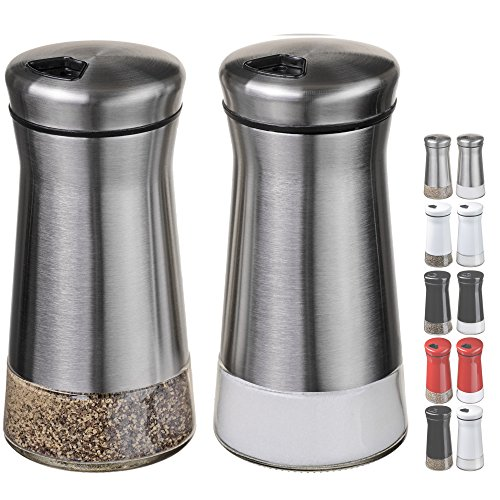 (Stainless Steel) - Chefvantage Salt And Pepper Shakers Set With Adjustable Holes - Stainless - Anchor Hocking Shaker