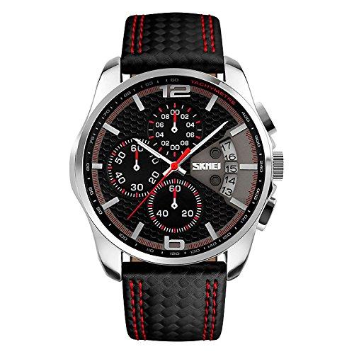 XLORDX SKMEI Herren Sport Armbanduhr Schwarz Leder Analog Quarz Datum Chronograph 5ATM wasserdicht Rot Zifferblatt