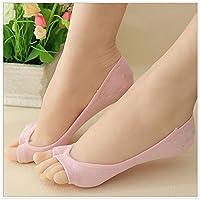G1 Consoladores Mujer Niña Corte bajo Invisible Abierto Peep Corto Barco Calcetines Antideslizantes, Color Rosa