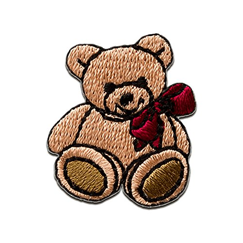 Aufnäher/Bügelbild - Teddy Bär Schleife - braun - 2,8x2,5cm - Patch Aufbügler Applikationen zum aufbügeln Applikation Patches Flicken