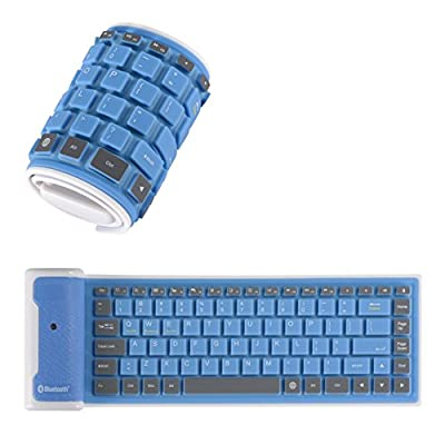 Yuzihan Portable Roll up Super Mini Wireless Bluetooth Keyboard For All iPad Tablets Smart phone Laptop Blue