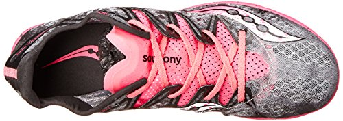 Saucony Womens Carrera XC Flat Running Shoe Grey/Vizi Pink