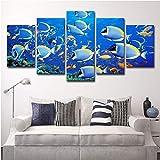 Leinwanddrucke Poster Wohnzimmer Wandkunst Bilder Rahmen 5 Stücke Unterwasserwelt Fische Blau...