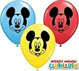 Mickey Mouse Face Assorted 5 Qualatex Latex Balloons x 10 by Mickey & Minnie Mouse