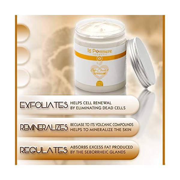 Mascarilla exfoliante facial 250ml con ácido hialurónico. Arcilla blanca natural purificante para piel grasa o mixta. Hombre & mujer. Reduce puntos negros, espinilla, poro abierto y grano de acné